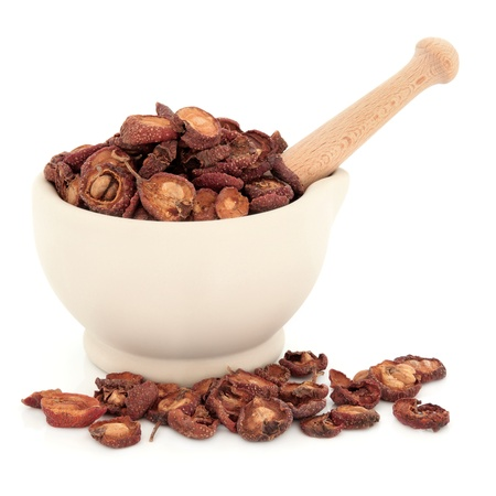 traditional remedy: Chinese herbal medicine hawthorn fruit in a stone mortar with pestle over white background