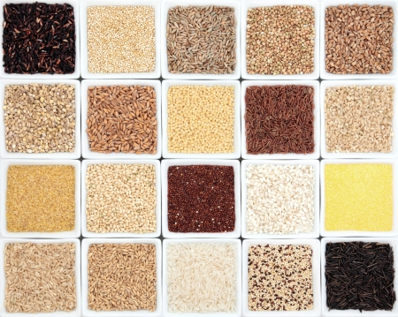 groat: Large healthy grain food selection in white dishes