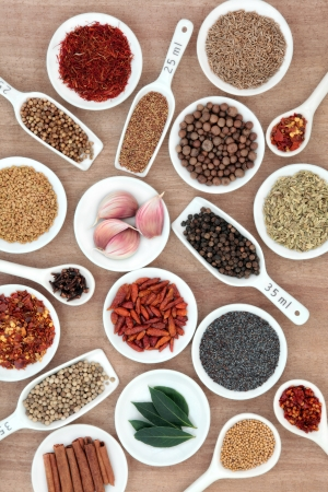 Large spice and herb selection in white china bowls and measuring spoons with millilitre measurement over papyrus background  photo