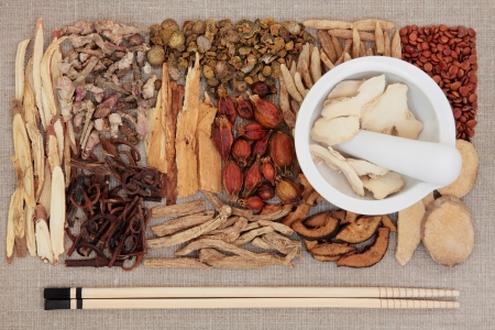 herbology: Chinese herbal medicine ingredients with chopsticks and mortar with pestle over hessian background
