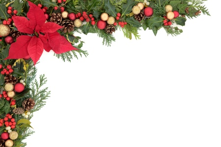 poinsettia: Christmas and winter floral border with poinsettia flower, decorations, natural holly, mistletoe and ivy,  over white background  Stock Photo