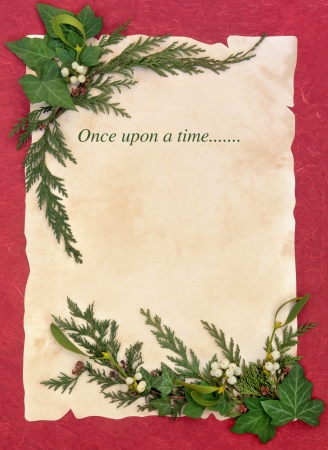 once: Christmas abstract floral border with once upon a time storyline over old parchment and red background     Stock Photo