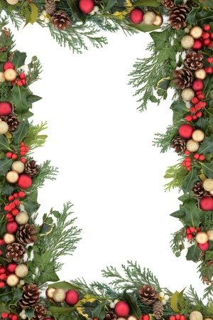 Christmas floral background border with red and gold baubles, natural holly, mistletoe and winter greenery over white  photo