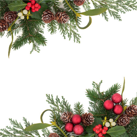 festive pine cones: Christmas floral background border with red baubles, holly, ivy, mistletoe, pine cones and winter greenery over white background  Stock Photo