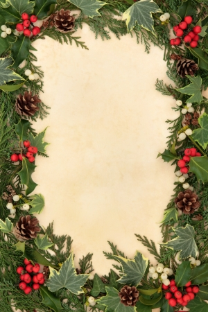 Traditional christmas floral border of holly, ivy, mistletoe and pine cones over old parchment background