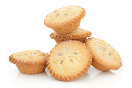 mince pie: Christmas mince pie group with snowflake design over white background