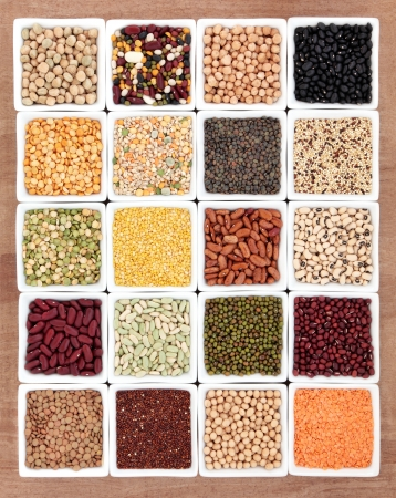 Pulses dried food in white porcelain dishes