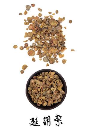 corydalis: Corydalis tuber chinese herbal medicine with mandarin title script translation  Yan hu suo   Stock Photo