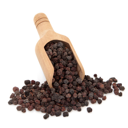 wei: Schisandra berries used in chinese herbal medicine in a wooden scoop over white background  Wu wei zi  Stock Photo