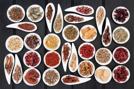 corydalis: Large chinese herbal medicine selection in white porcelain dishes  Stock Photo