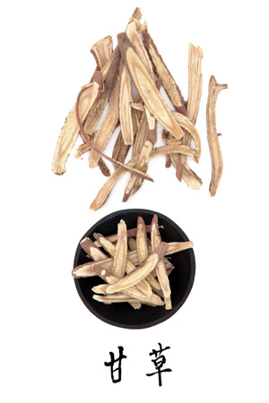Licorice root chinese herbal medicine with mandarin title script translation  Gan cao  photo