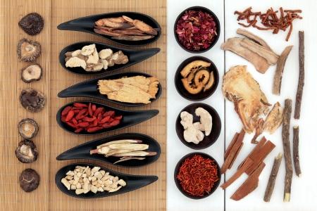 伝統的な漢方薬成分選択 写真素材