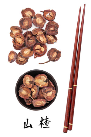 chinese herbal medicine: Hawthorn fruit used in traditional chinese herbal medicine with mandarin title script translation and chopsticks  Shan zha  Fructus crataegi  Stock Photo