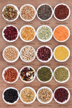 pinto: Large dried pulses selection with titles in white porcelain dishes over papyrus background