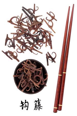 teng: Uncaria stem chinese herbal medicine with mandarin title script translation and chopsticks  Gou teng