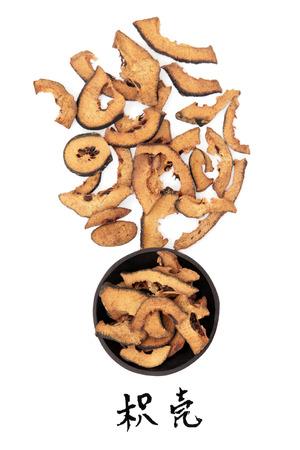 bitter orange: Bitter orange traditional chinese herbal medicine with mandarin title script translation  Zhi ke