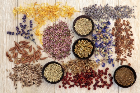 Medicinal herb selection also used in witches magical potions over wooden background  photo