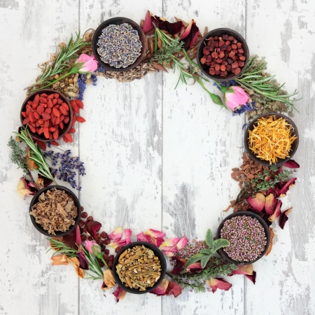 Medicinal herb selection also used in witches magical potions forming a wreath over distressed wooden  background