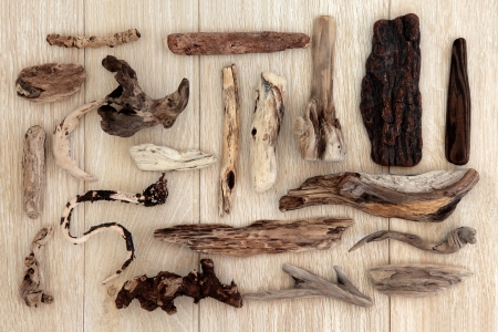 driftwood: Driftwood abstract design over old oak background  Stock Photo