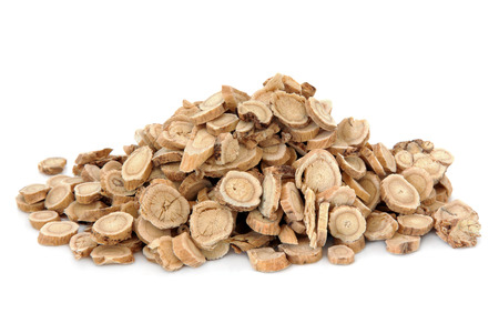huang: Astragalus root herb used in chinese herbal medicine over white background  Huang qi