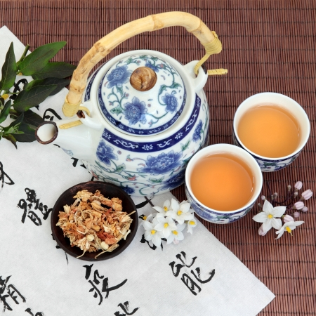 chinese tea pot: Jasmine flower tea with oriental style teapot, cups and spoon and chinese calligraphy  Su xin hua  Stock Photo