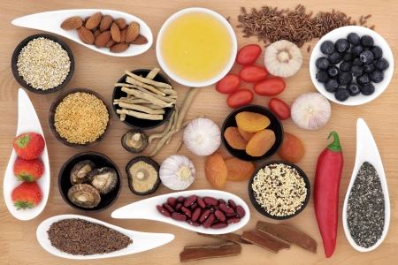 superfood: Superfood selection over beech wood background