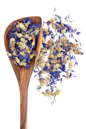 dried herb: Dried cornflower herbal medicine in an olive wood spoon over white Stock Photo