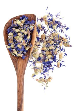 Cornflower: Dried cornflower herbal medicine in an olive wood spoon over white Stock Photo