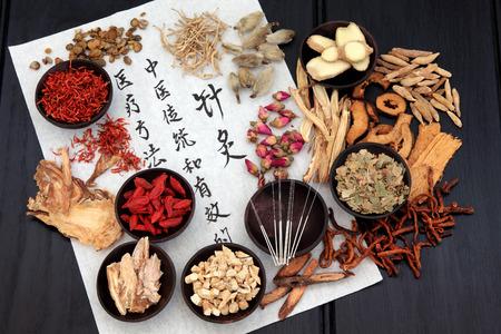 Mandarin escritura de la caligrafía sobre papel de arroz que describe la acupuntura de la medicina china como una solución médica tradicional y eficaz.