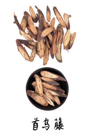 caulis: Fleeceflower stem chinese herbal medicine with mandarin script title translation  Ye jiao teng  Caulis polyoni multiflori  Stock Photo