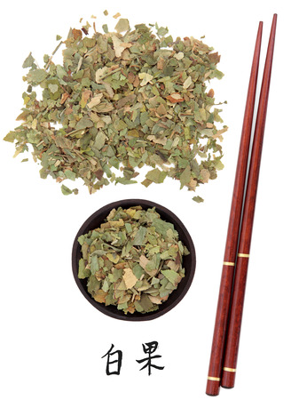 xing: Ginkgo leaf chinese herbal medicine with chopsticks and mandarin script title translation  Yin xing