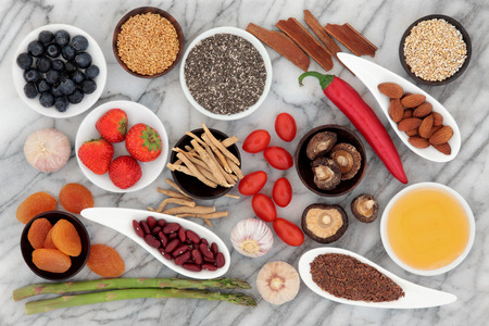 Health food selection over a marble background  photo