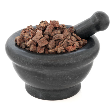 salvia: Red sage root chinese herbal medicine in a black stone mortar with pestle over white background  Dan shen  Salvia  Stock Photo