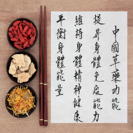 Chinese herbal medicine with mandarin calligraphy script on rice paper over papyrus describing the medicinal functions to maintain body and spirit health and balance energy