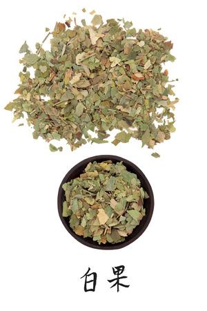 xing: Ginkgo leaf chinese herbal medicine with mandarin script title translation  Yin xing