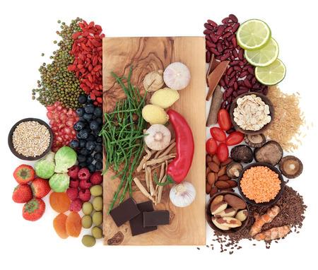 흰색 통해 슈퍼 푸드 건강 식품 선택 스톡 콘텐츠