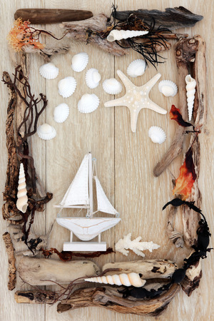 Sea shell, driftwood and seaweed abstract design with small boat over old oak background  photo