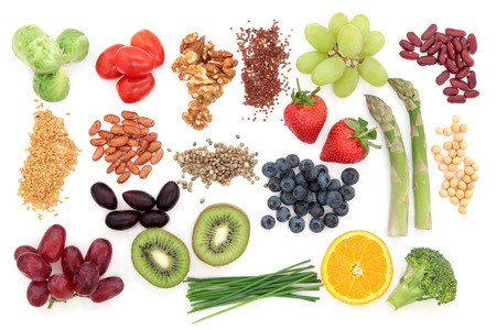 Superfood health food selection over white background