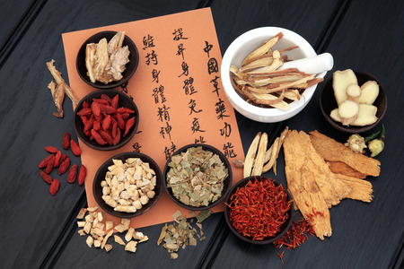 describing: Chinese herbal medicine selection with mandarin calligraphy script describing the medicinal functions to maintain body and spirit health and balance body energy