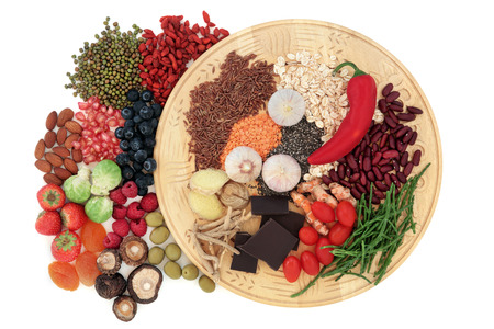 Health food selection over a white background  photo