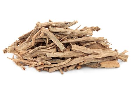 chickweed: Stellaria root herb used in chinese herbal medicine over white background  Yin chai hu  Radix stellariae