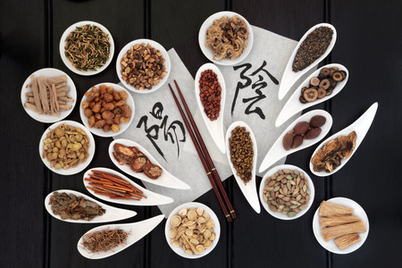 Chinese herbal medicine with yin and yang calligraphy script on rice paper with herb selection  Translation reads as yin yang  photo