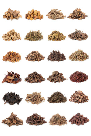 Chinese herbal medicine selection over white background   photo