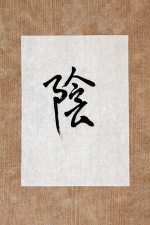 chinese script: Chinese yin symbol in mandarin calligraphy script on rice paper over brown paper
