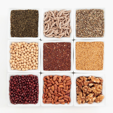 superfood: Superfood health food selection in white bowls  Stock Photo