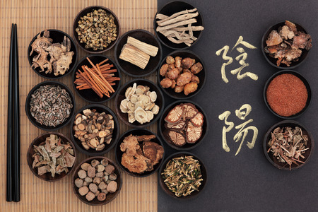 Chinese herbal medicine with yin and yang calligraphy script over bamboo  Translation reads as yin yang