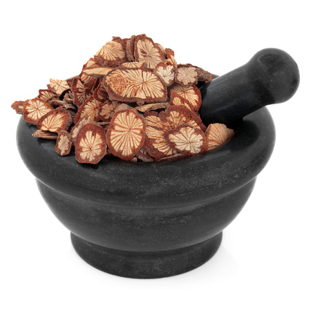 teng: Sagent glory vine chinese herbal medicine in a black stone mortar with pestle over white background  Hong teng  Sargentadoxa  Stock Photo