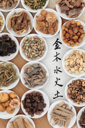 Five elements chinese calligraphy script on rice paper with herbal medicine selection in white china bowls  Wu xing.  Translation reads from top to bottom as, metal, wood, water, fire, earth  photo