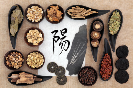 Chinese herbal medicine selection with acupuncture needles,\ yang symbol and good fortune coins. Script translation reads as\ yang