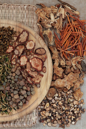 Chinese herbal medicine selection forming a background  photo
